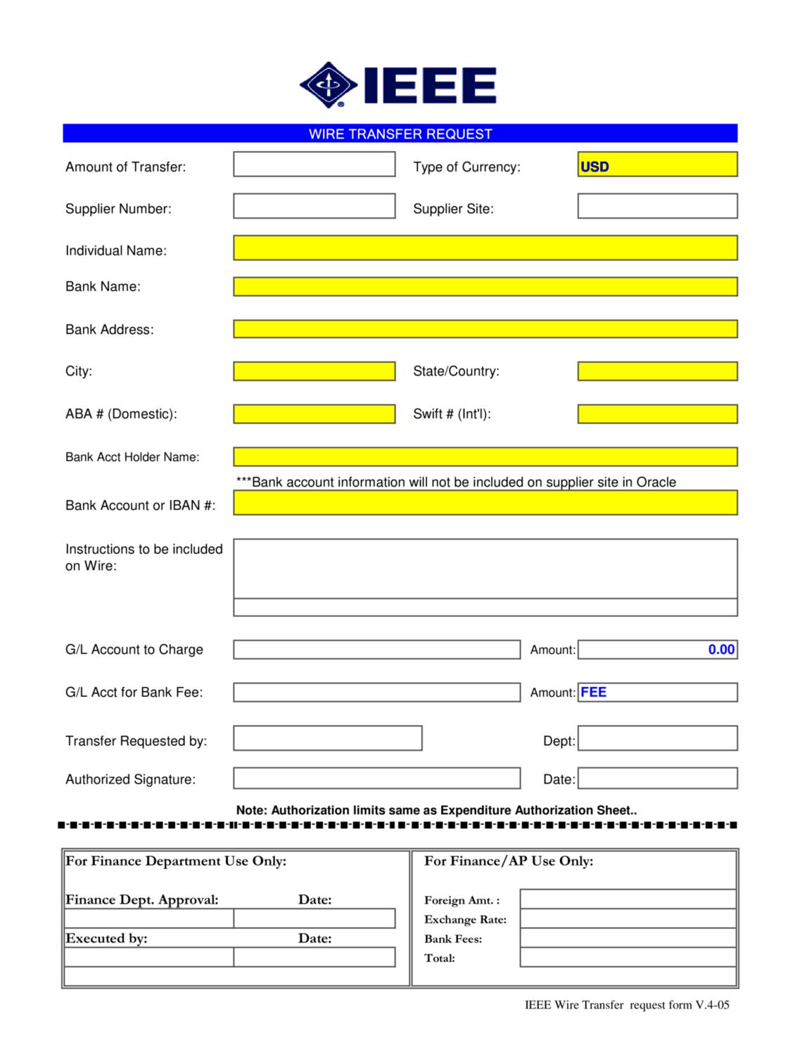 Ieee Wire Transfer Form International